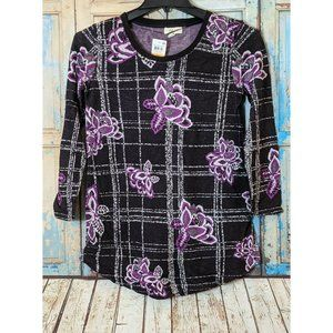Style & Co Womens PS Black 3/4 Sleeve VVD Violet